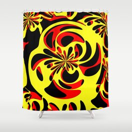 Yellow red and black Shower Curtain