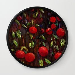 Ruby Red Apples Wall Clock