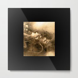 Dragon and wave,Tiger among bamboo by Kano Tannyu (1602-1674) Metal Print