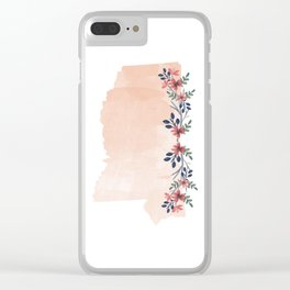 Mississippi Watercolor Floral State Clear iPhone Case