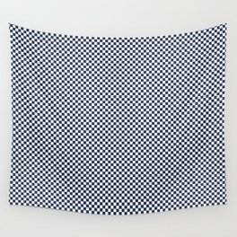 Dark Sargasso Blue and White Mini Check 2018 Color Trends Wall Tapestry