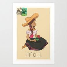 México postal  Art Print