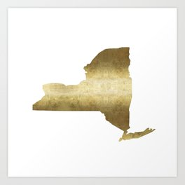 new york gold foil state map print niece ny state Art Print