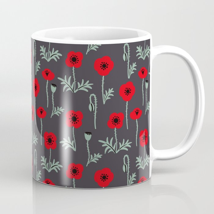Red poppy flower pattern Coffee Mug