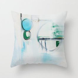 No. 12 Blue Emerald Ombre Pastel Abstract Painting  Throw Pillow
