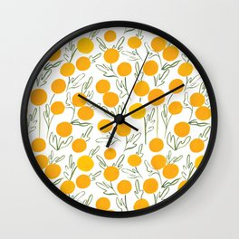 Yellow Poms Wall Clock