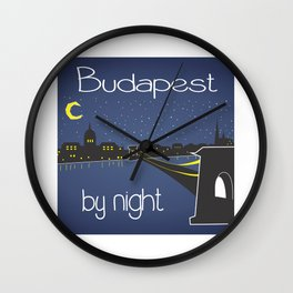 Budapest by night, poster, squared design Wall Clock