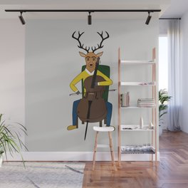 Deer playing cello Wall Mural