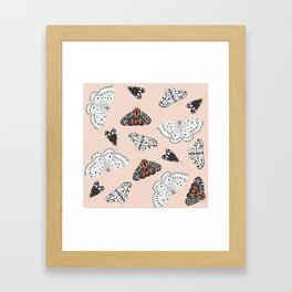 Muted Illustrated Moth Pattern Framed Art Print