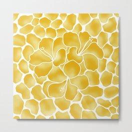 Hibiscus Animal: Yellow Tonal Metal Print