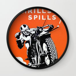Vintage Motorcycle Poster Wall Clock