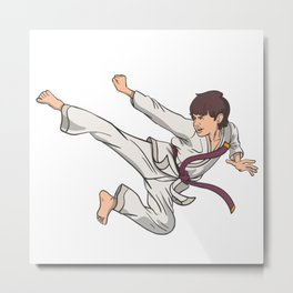 Karate jump kick Metal Print