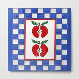 Apples and Checkered Design Metal Print