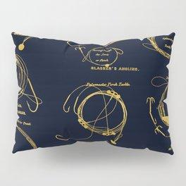 Maritime pattern- Gold fishing gear on darkblue background Pillow Sham