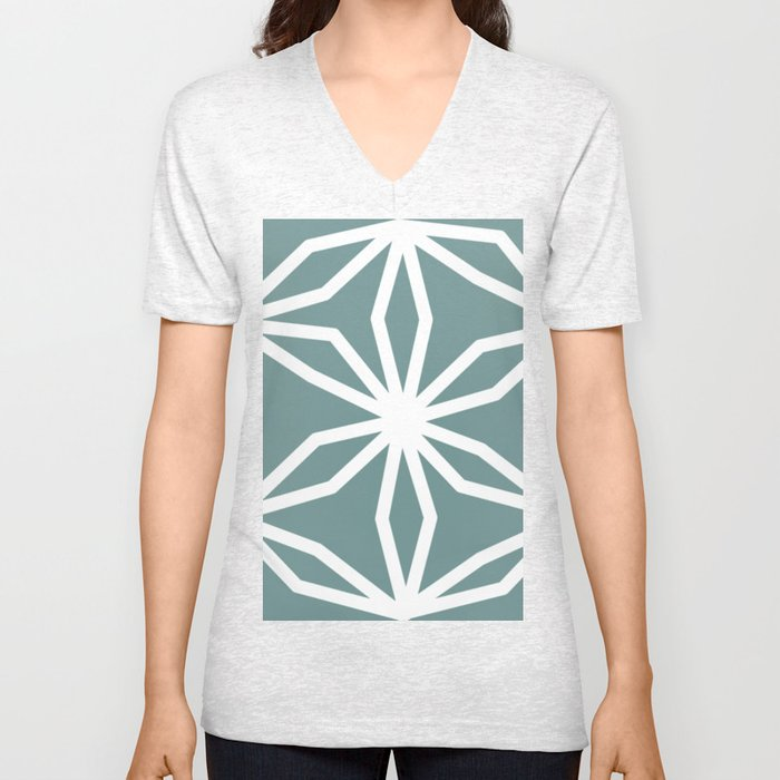 CUBIC FLOWER PATTERN - blue Unisex V-Neck