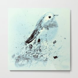 Robin in blue Metal Print