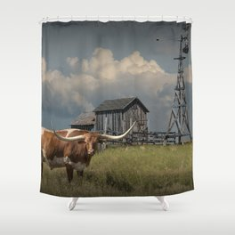 Longhorn Steer in a Prairie pasture by 1880 Town with Windmill and Old Gray Wooden Barn Shower Curtain