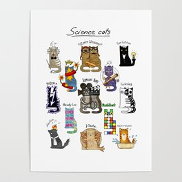 Science cats. History of great discoveries. Schrödinger cat, Tesla, Einstein. Physics, chemistry etc Poster
