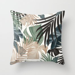 Tropical Jungle Leaves Pattern #13 (Fall Colors) #tropical #decor #art #society6 Throw Pillow