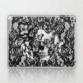 Rose skull on black lace base. Laptop & iPad Skin