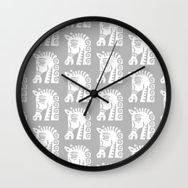 Mid Century Horse Pattern Grey Wall Clock