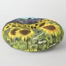 Sunflower Fields Of Dreams Van Goth Floor Pillow