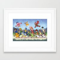 digimon Framed Art Prints featuring Hey Digimon! by Crystal Kan