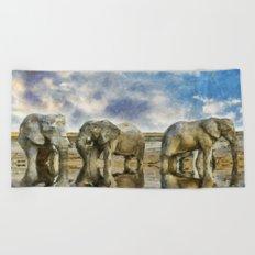 Elephants Drinking Beach Towel