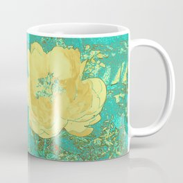 Serenity Prayer Peony Yellow Turquoise Coffee Mug