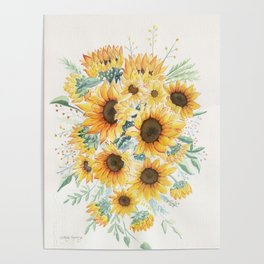 Loose Watercolor Sunflowers Poster