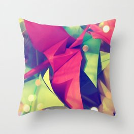Senbazuru | pink and green Throw Pillow