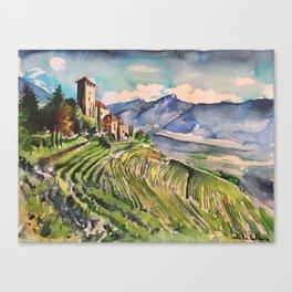 Castle, Mountain, vineyards, scenery, Italy, Austria, Alps, Lebenberg, watercolor, realistic, nature Canvas Print