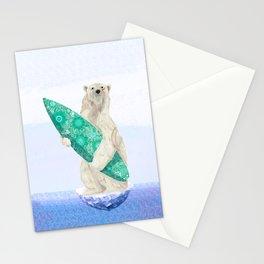 Polar bear & Surf (green) Stationery Cards