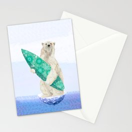 Polar bear & Surf (green) Stationery Cards