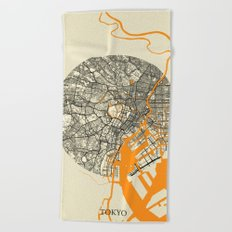 Tokyo Map Moon Beach Towel