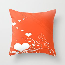 White Valentine Hearts On Red Background Throw Pillow