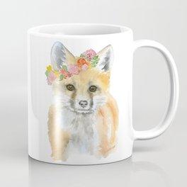 Fox Floral Watercolor Painting Coffee Mug