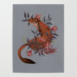 Stoat In Foliage Poster