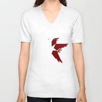 infamous V-neck T-shirts featuring Infamous: Second Son - Jacket Bird Logo (Solid) by Dsavage94
