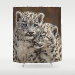 Snow Leopard Cubs - Playmates Shower Curtain