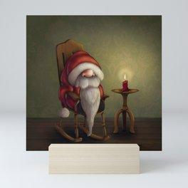 New edit: Little Santa in his rocking chair Mini Art Print