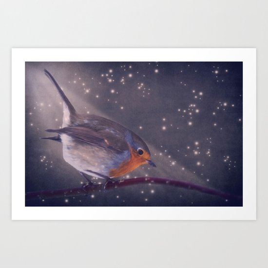 The little robin at the night Art Print