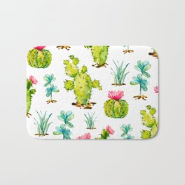 Green Cactus Watercolor Bath Mat