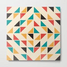 Triangles Mid Century Pattern Metal Print