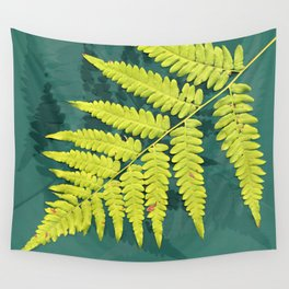 From the forest - lime green on teal Wall Tapestry