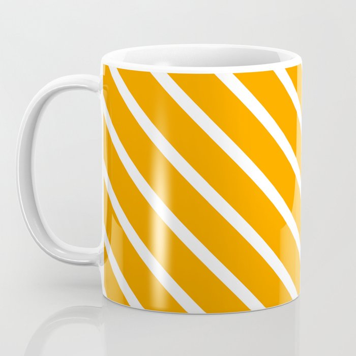 Neon Orange Diagonal Stripes Coffee Mug