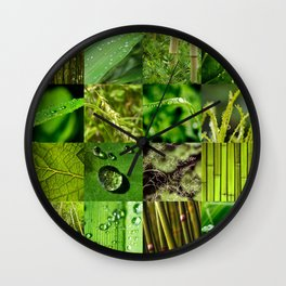Green Leaf & Tree Nature Collage Wall Clock