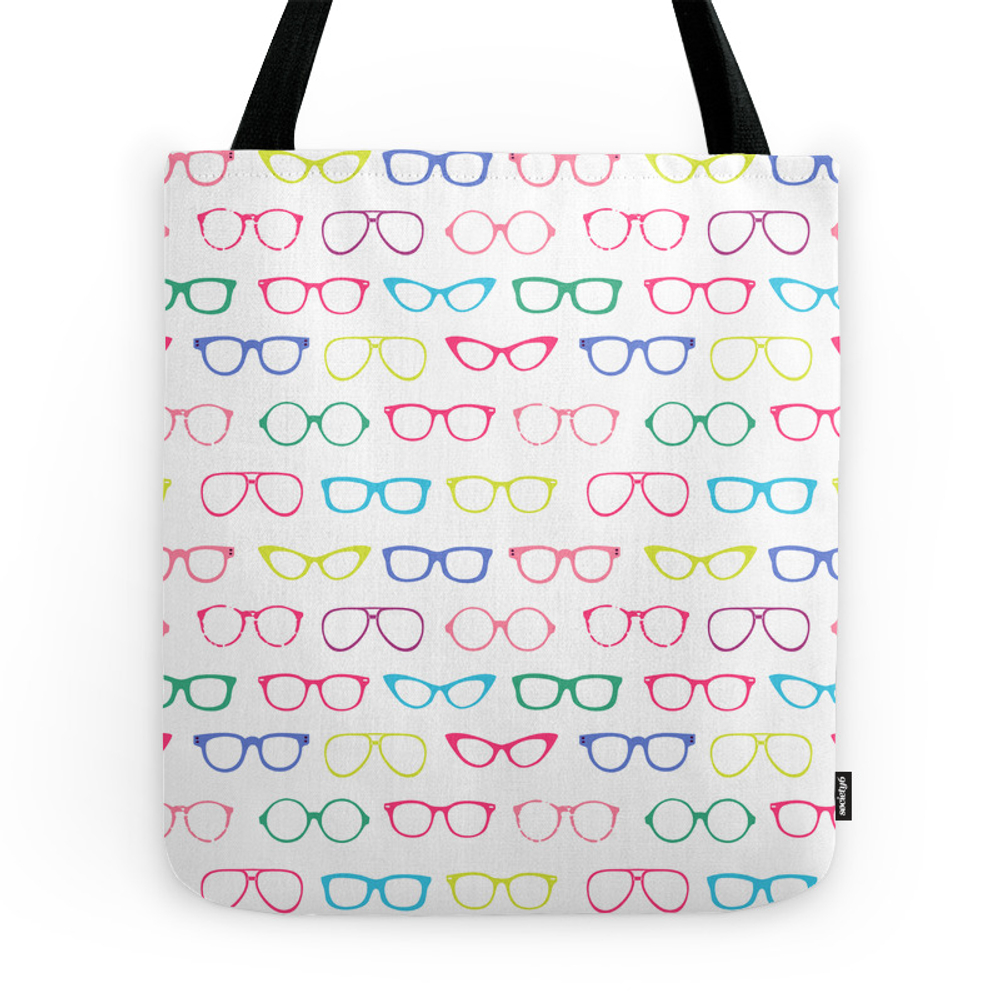 Retro Vintage Nerdy Glasses Pattern Tote Purse by samanndesigns (TBG7888267) photo