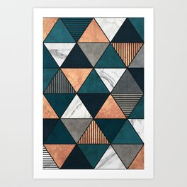 Copper, Marble and Concrete Triangles 2 with Blue Art Print