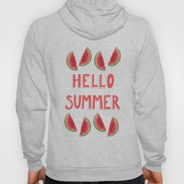 Hello Summer Watercolor Handlettered Painting - Pink Background Hoody
